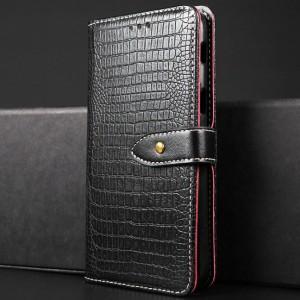 Чехол портмоне подставка текстура Крокодил на силиконовой основе с отсеком для карт на магнитной защелке для Samsung Galaxy A5 (2017) Черный