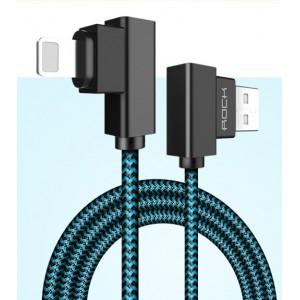 Интерфейсный кабель Lightning в тканевой оплетке 1м с угловыми разъемами Синий