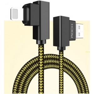 Интерфейсный кабель Lightning в тканевой оплетке 1м с угловыми разъемами Желтый