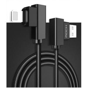 Интерфейсный кабель Lightning в тканевой оплетке 1м с угловыми разъемами Черный