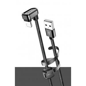 Интерфейсный кабель Lightning игрового типа в тканевой оплетке 1м с угловым разъемом, фиксирующей присоской и стягивающим хомутом Черный