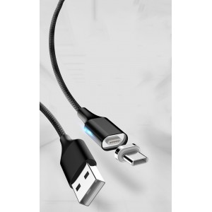 Интерфейсный кабель в тканевой оплетке с магнитными коннектором USB Type-C и световым индикатором 1м