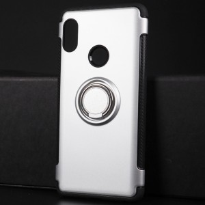 Противоударный двухкомпонентный силиконовый матовый непрозрачный чехол с поликарбонатными вставками экстрим защиты с встроенным кольцом-подставкой для Xiaomi RedMi Note 5 Серый