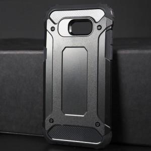 Противоударный двухкомпонентный силиконовый матовый непрозрачный чехол с поликарбонатными вставками экстрим защиты для Samsung Galaxy A5 (2017) Черный