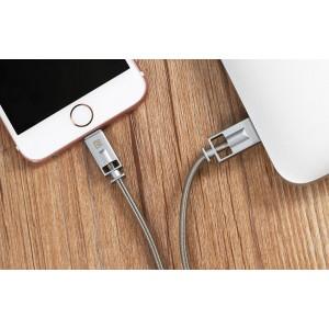 Интерфейсный кабель Lightning 1м в металлической оплетке пружинного типа с алюминиевыми разъемами Серый