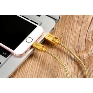 Интерфейсный кабель Lightning 1м в металлической оплетке пружинного типа с алюминиевыми разъемами Желтый