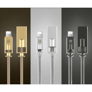 Интерфейсный кабель Lightning 1м в металлической оплетке пружинного типа с алюминиевыми разъемами