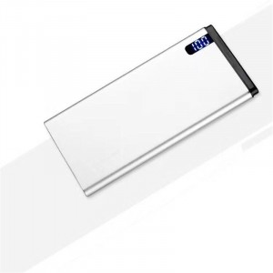 Нанотонкое 10мм портативное зарядное устройство 10000 mAh с USB-портом экспресс-заряда и LCD-экраном Белый