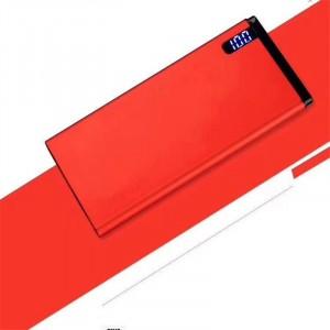 Нанотонкое 10мм портативное зарядное устройство 10000 mAh с USB-портом экспресс-заряда и LCD-экраном Красный