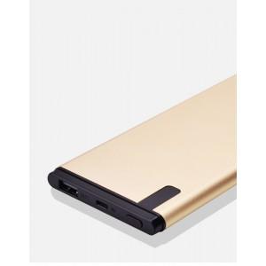 Нанотонкое 10мм портативное зарядное устройство 10000 mAh с USB-портом экспресс-заряда и LCD-экраном Бежевый