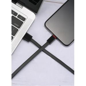 Интерфейсный антизапутываемый силиконовый кабель плоского сечения USB Type-C 1.5м дизайн Точки