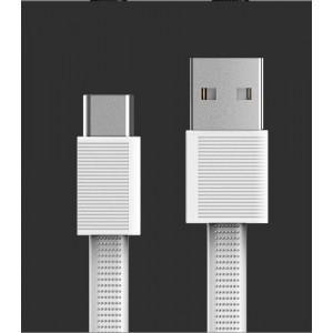 Интерфейсный антизапутываемый силиконовый кабель плоского сечения USB Type-C 1.5м дизайн Точки Белый