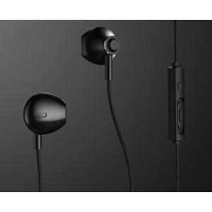 Наушники вкладыши в металлическом матовом корпусе серия MetalEar 1.2м с функцией гарнитуры Черный