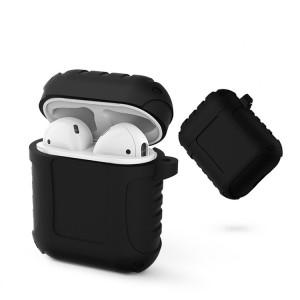 Флуоресцентный силиконовый нескользящий противоударный чехол для зарядного чехла AirPods Черный