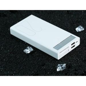 Портативное зарядное устройство 20000 mAh в металлическом корпусе с 2-я USB разъемами (5V/2.1А : 5V/2.4А) и индикатором заряда Белый