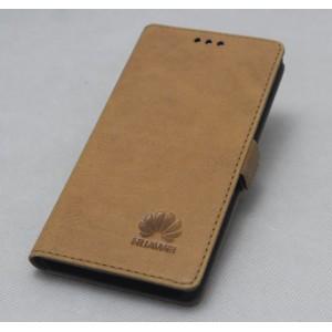 Винтажный кожаный чехол горизонтальная книжка подставка на силиконовой основе на магнитной защелке для Huawei Mate 9 Pro  Бежевый