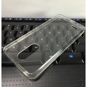 Cиликоновый глянцевый полупрозрачный чехол с поликарбонатными вставками для LG K8 (2017)