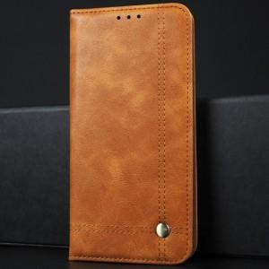 Винтажный чехол портмоне подставка на силиконовой основе с отсеком для карт для Xiaomi RedMi Note 5 Бежевый