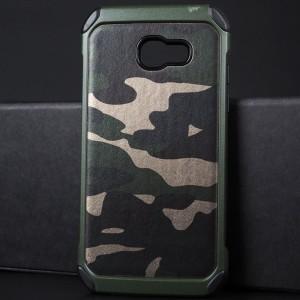 Противоударный двухкомпонентный силиконовый матовый непрозрачный чехол с поликарбонатными вставками и текстурным покрытием Кожа для Samsung Galaxy A5 (2017) Зеленый