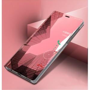 Пластиковый непрозрачный матовый чехол с полупрозрачной крышкой с зеркальным покрытием для Xiaomi RedMi Note 5 Красный