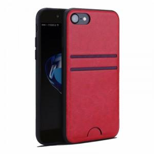 Силиконовый матовый непрозрачный чехол с текстурным покрытием Кожа для Iphone 7/8 Красный