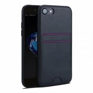 Силиконовый матовый непрозрачный чехол с текстурным покрытием Кожа для Iphone 7/8 Черный