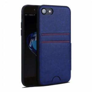 Силиконовый матовый непрозрачный чехол с текстурным покрытием Кожа для Iphone 7/8 Синий