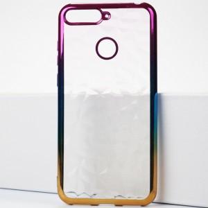 Силиконовый глянцевый полупрозрачный градиентный чехол с текстурным покрытием Камень для Huawei Honor 7A Pro/7C/Y6 Prime (2018)