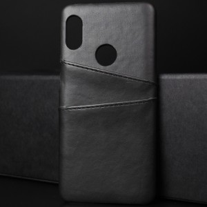 Чехол накладка текстурная отделка Кожа с отсеком для карт для Xiaomi RedMi Note 5/5 Pro Черный