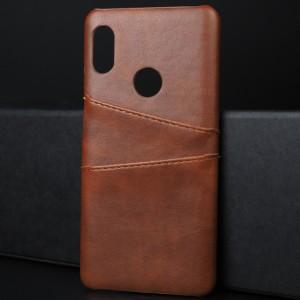 Чехол накладка текстурная отделка Кожа с отсеком для карт для Xiaomi RedMi Note 5/5 Pro Коричневый