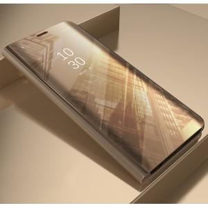 Пластиковый непрозрачный матовый чехол с полупрозрачной крышкой с зеркальным покрытием для Samsung Galaxy A5 (2017) Бежевый