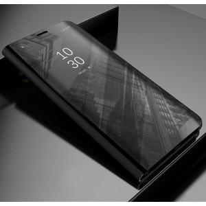 Пластиковый непрозрачный матовый чехол с полупрозрачной крышкой с зеркальным покрытием для Samsung Galaxy A5 (2017) Черный