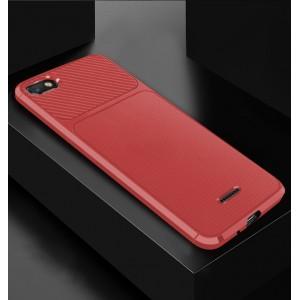 Силиконовый матовый непрозрачный чехол с текстурным покрытием Карбон для Xiaomi RedMi 6A Красный