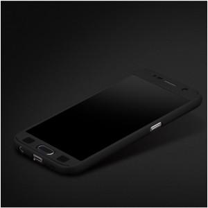 Двухкомпонентный сборный пластиковый матовый чехол для Samsung Galaxy S7 Черный