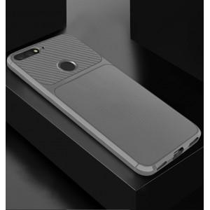 Силиконовый матовый непрозрачный чехол с текстурным покрытием Карбон для Huawei 7A Pro/7C/Y6 Prime (2018) Белый