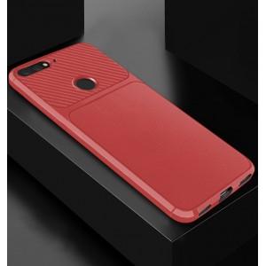 Силиконовый матовый непрозрачный чехол с текстурным покрытием Карбон для Huawei 7A Pro/7C/Y6 Prime (2018) Красный
