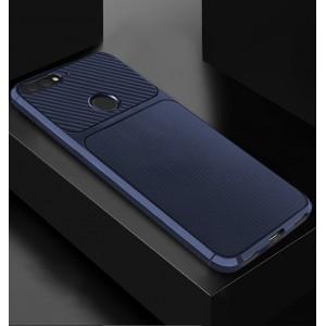 Силиконовый матовый непрозрачный чехол с текстурным покрытием Карбон для Huawei 7A Pro/7C/Y6 Prime (2018) Синий