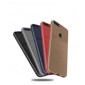 Силиконовый матовый непрозрачный чехол с текстурным покрытием Карбон для Huawei 7A Pro/7C/Y6 Prime (2018)