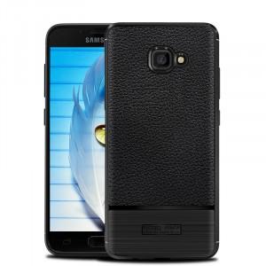 Силиконовый матовый непрозрачный чехол с улучшенной защитой элементов корпуса и текстурным покрытием Кожа для Samsung Galaxy A5 (2017) Черный