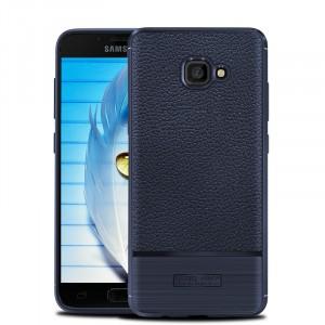 Силиконовый матовый непрозрачный чехол с улучшенной защитой элементов корпуса и текстурным покрытием Кожа для Samsung Galaxy A5 (2017) Синий