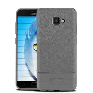 Силиконовый матовый непрозрачный чехол с улучшенной защитой элементов корпуса и текстурным покрытием Кожа для Samsung Galaxy A5 (2017) Серый