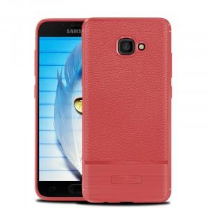 Силиконовый матовый непрозрачный чехол с улучшенной защитой элементов корпуса и текстурным покрытием Кожа для Samsung Galaxy A5 (2017) Красный