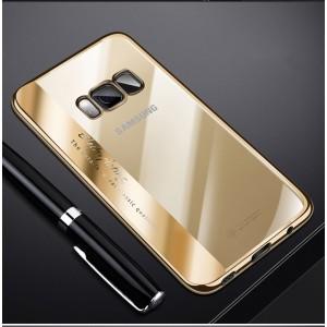 Силиконовый глянцевый полупрозрачный чехол для Samsung Galaxy S8 Бежевый