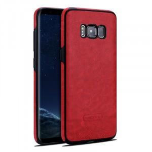 Силиконовый матовый непрозрачный чехол с нескользящими гранями и текстурным покрытием Кожа для Samsung Galaxy S8 Красный