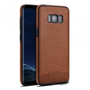 Силиконовый матовый непрозрачный чехол с нескользящими гранями и текстурным покрытием Кожа для Samsung Galaxy S8 Бежевый