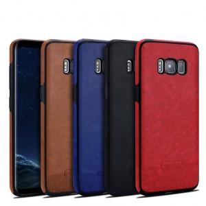 Силиконовый матовый непрозрачный чехол с нескользящими гранями и текстурным покрытием Кожа для Samsung Galaxy S8