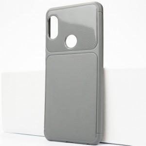 Силиконовый матовый непрозрачный чехол с текстурным покрытием Карбон для Xiaomi RedMi Note 5/5 Pro Серый