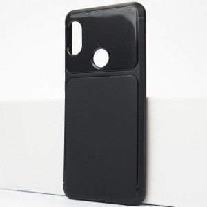 Силиконовый матовый непрозрачный чехол с текстурным покрытием Карбон для Xiaomi RedMi Note 5/5 Pro Черный