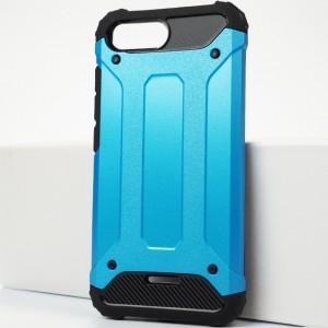 Противоударный двухкомпонентный силиконовый матовый непрозрачный чехол с поликарбонатными вставками экстрим защиты для Xiaomi RedMi 6A Голубой