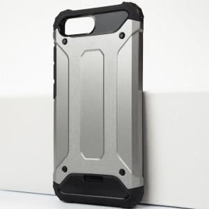 Противоударный двухкомпонентный силиконовый матовый непрозрачный чехол с поликарбонатными вставками экстрим защиты для Xiaomi RedMi 6A Серый
